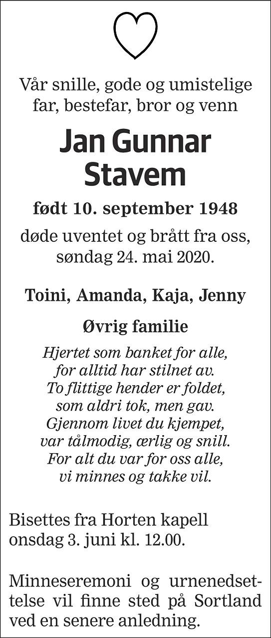 Jan Gunnar Stavem Dødsannonse