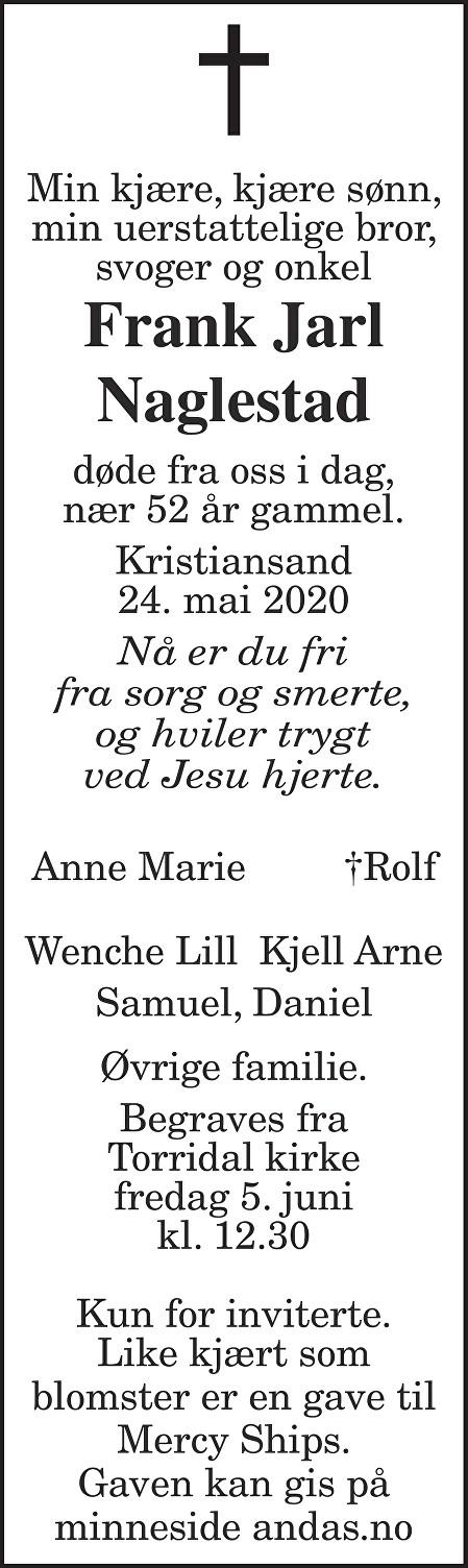 Frank Jarl Naglestad Dødsannonse