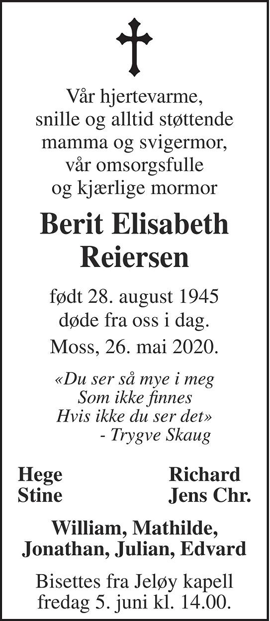 Berit Elisabeth Reiersen Dødsannonse