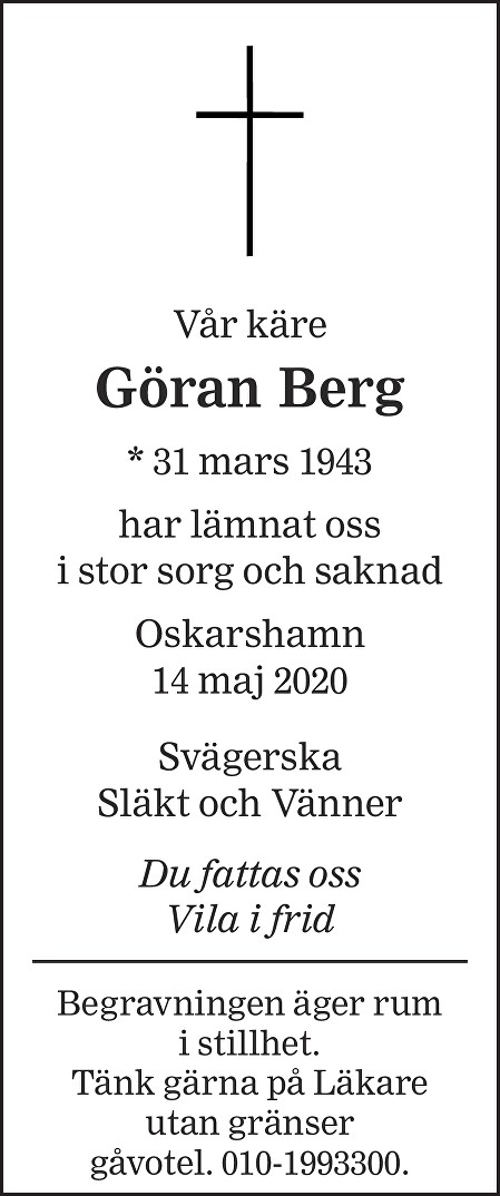 Göran Berg Death notice