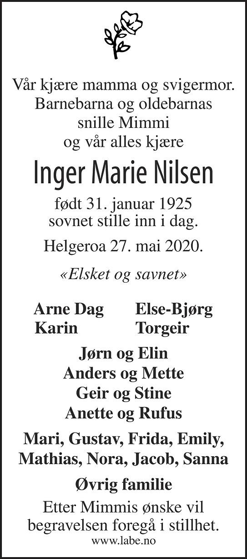 Inger Marie Nilsen Dødsannonse