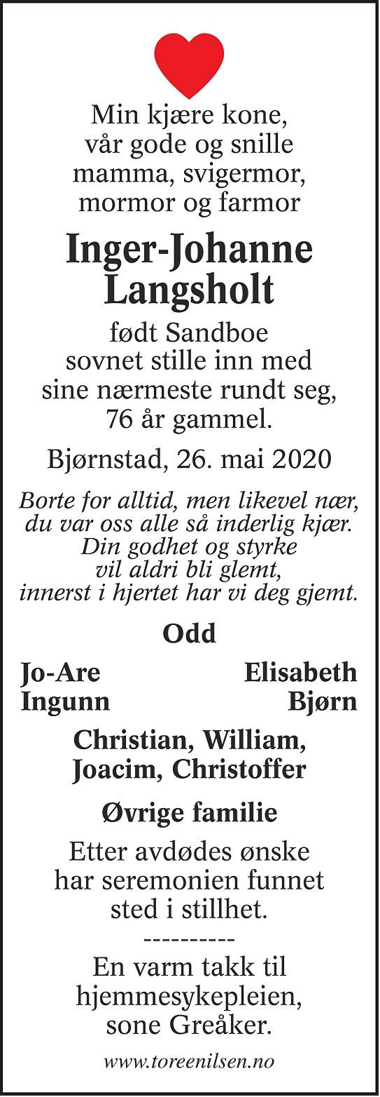 Inger-Johanne Langsholt Dødsannonse