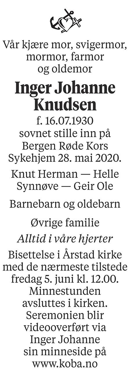 Inger Johanne Knudsen Dødsannonse