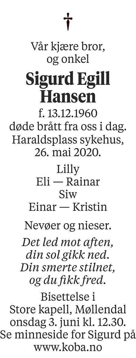 Sigurd Egill Hansen Dødsannonse