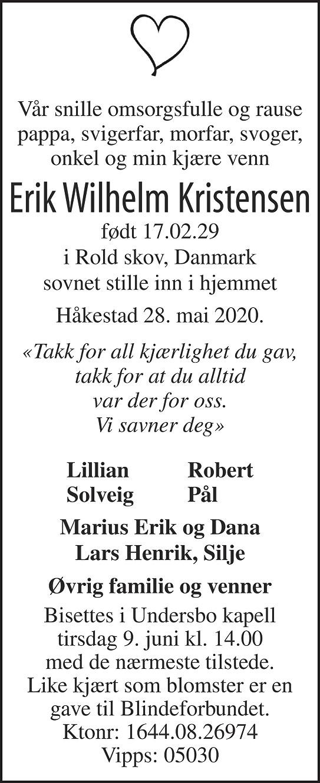 Erik Wilhelm Kristensen Dødsannonse