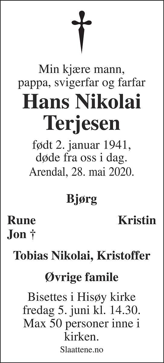 Hans Nikolai Terjesen Dødsannonse