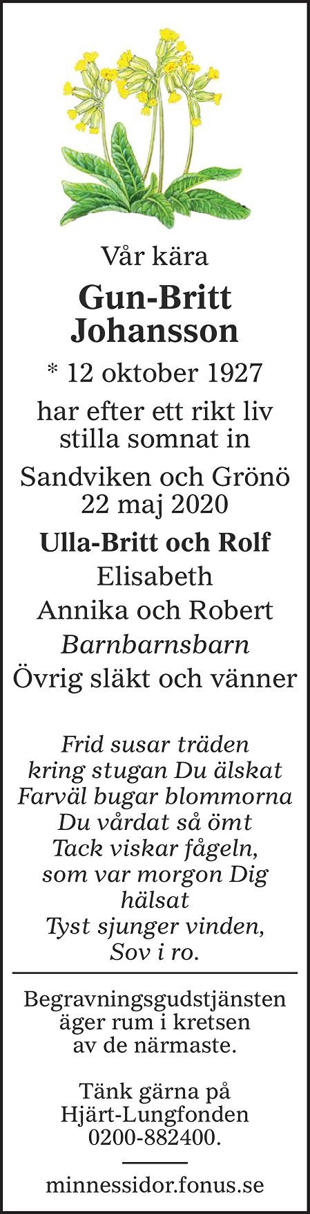 Gun-Britt Johansson Death notice