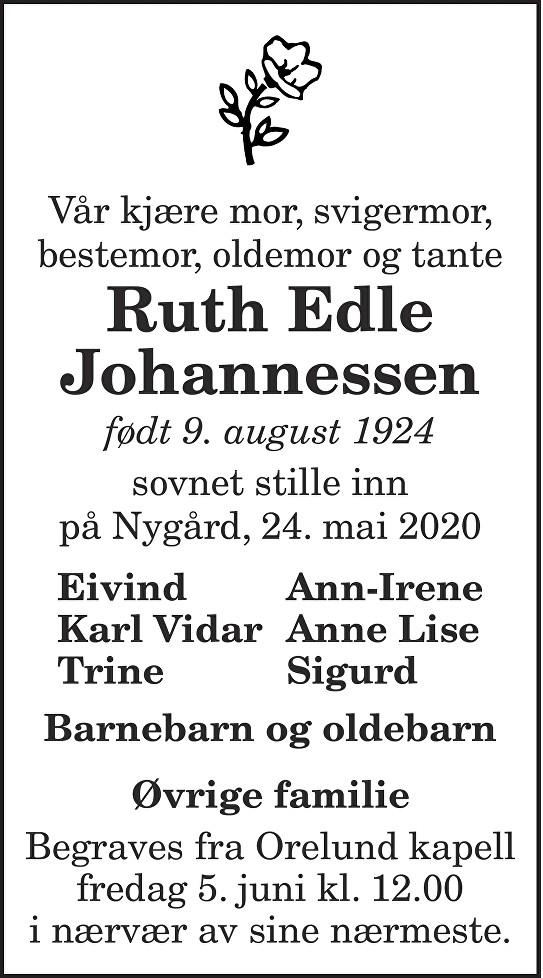 Ruth Edle Johannessen Dødsannonse