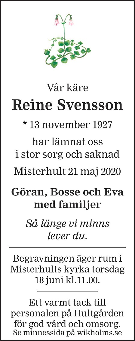 Reine Svensson Death notice