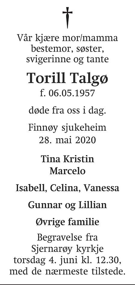 Torill Talgø Dødsannonse