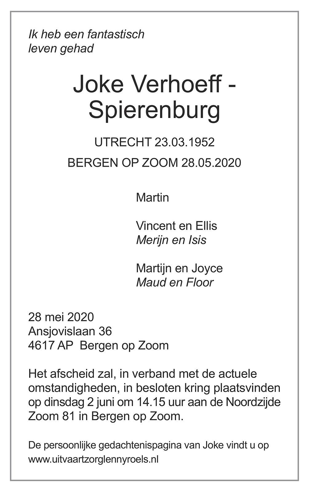 Joke Verhoeff Death notice