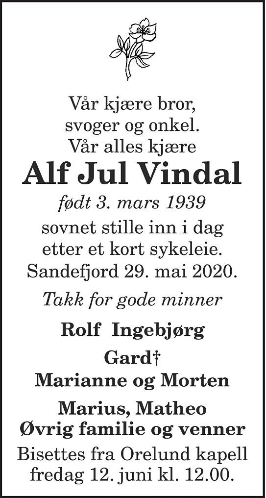 Alf Jul Vindal Dødsannonse