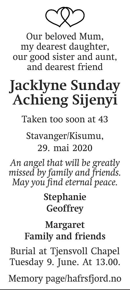 Jacklyne Sunday Achieng Sijenyi Dødsannonse