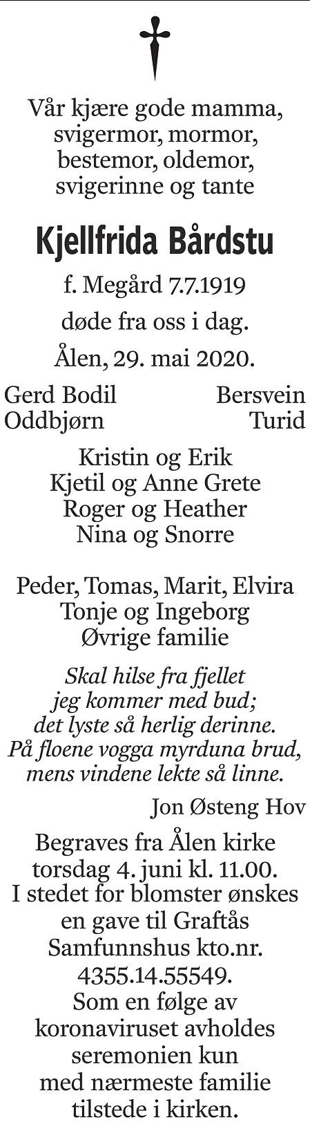 Kjellfrida Bårdstu Dødsannonse