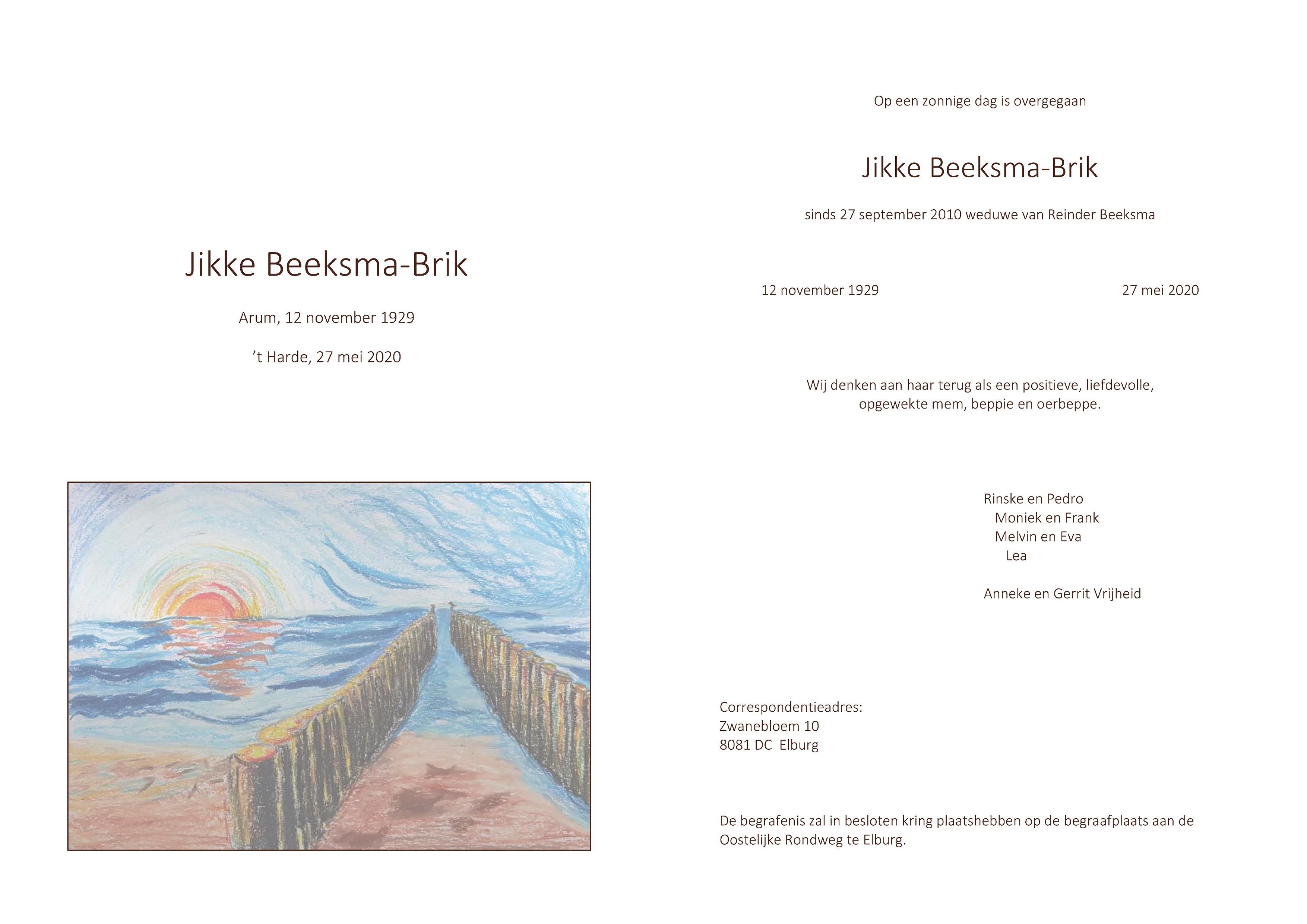 Jikke Beeksma-Brik Death notice