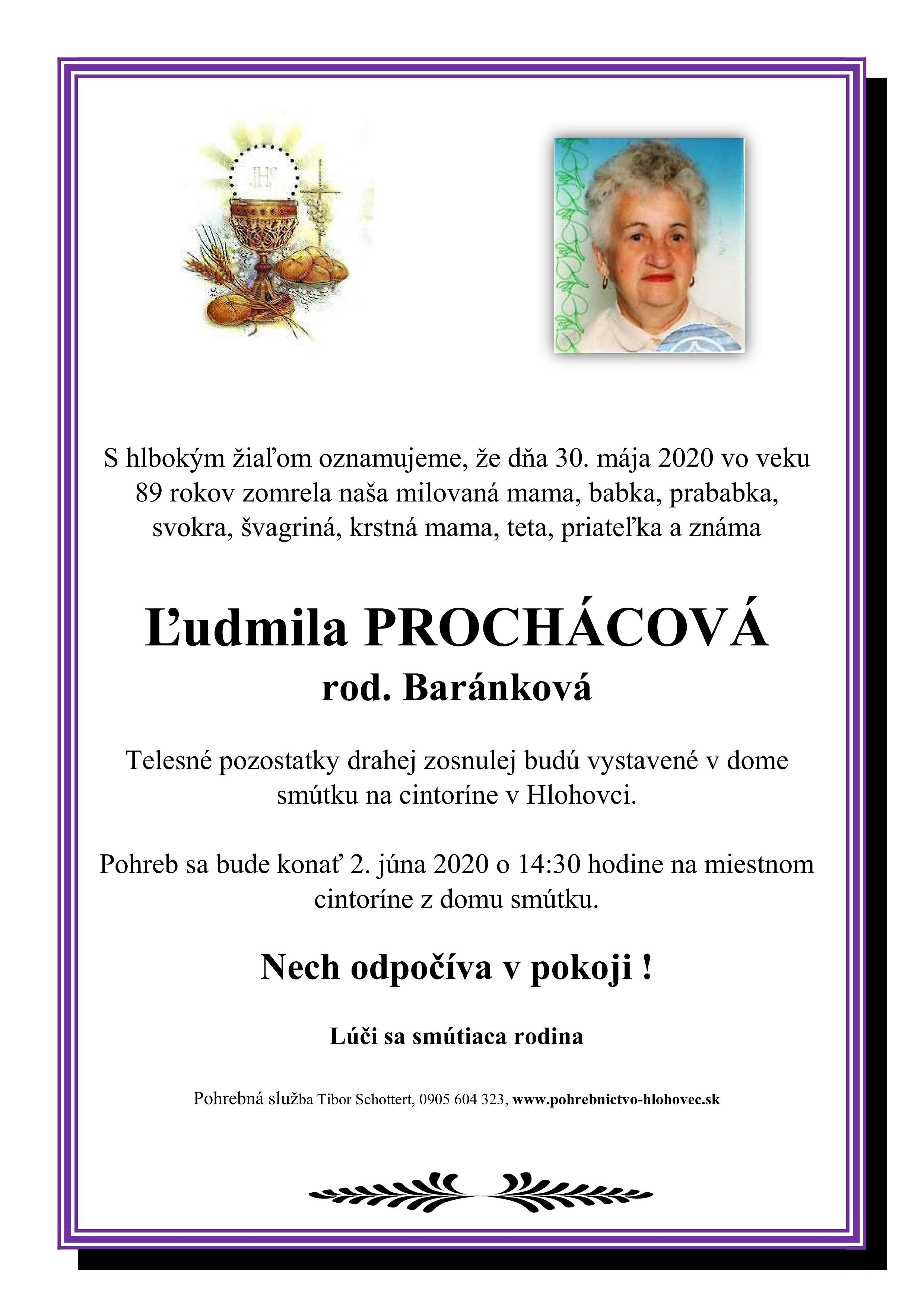 Ľudmila  Prochácová Parte