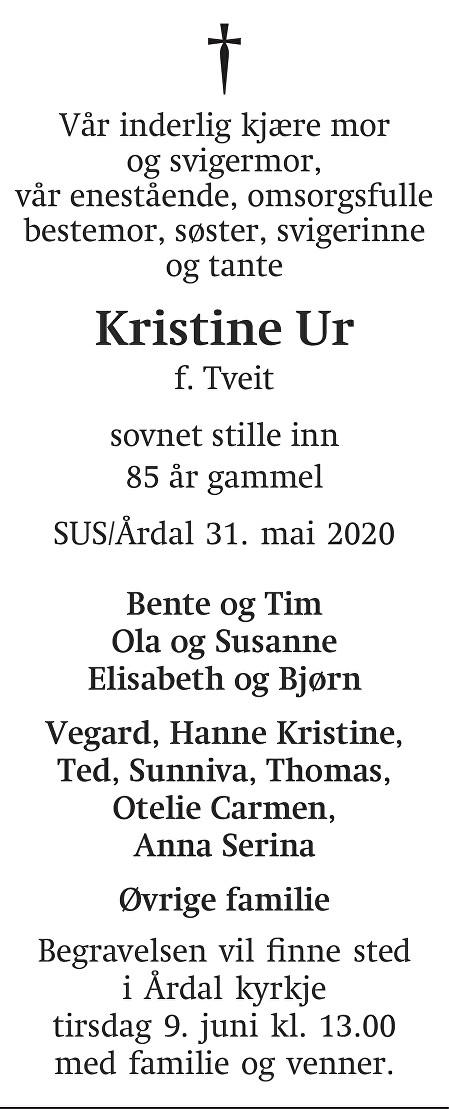 Borghild Kristine  Ur Dødsannonse