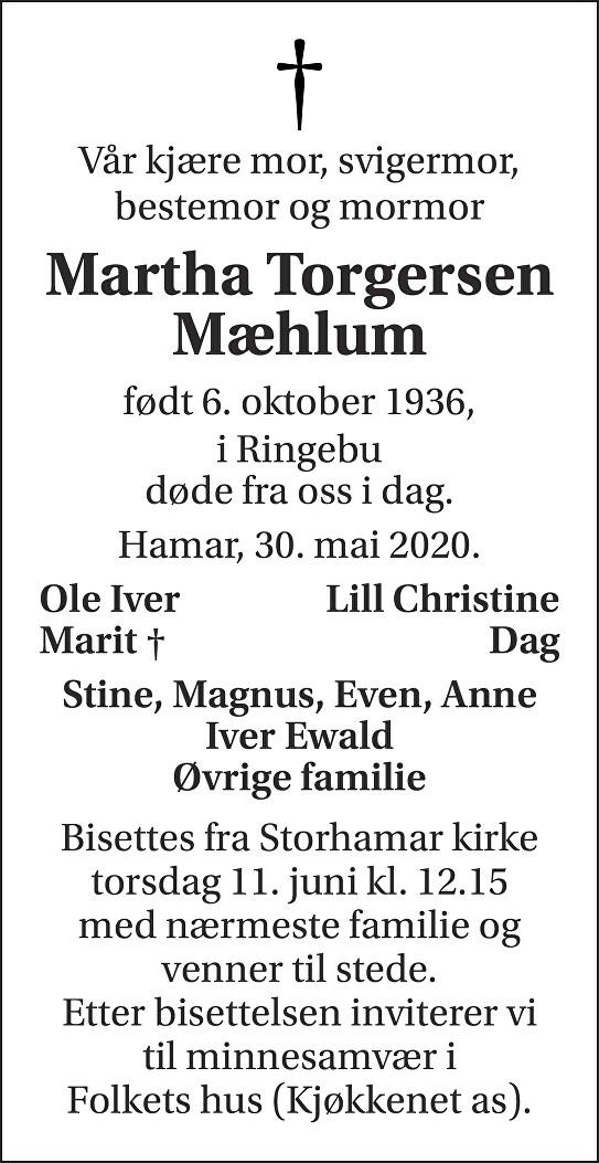 Martha Torgersen Mæhlum Dødsannonse