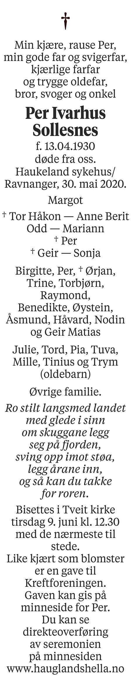 Per Ivarhus Sollesnes Dødsannonse