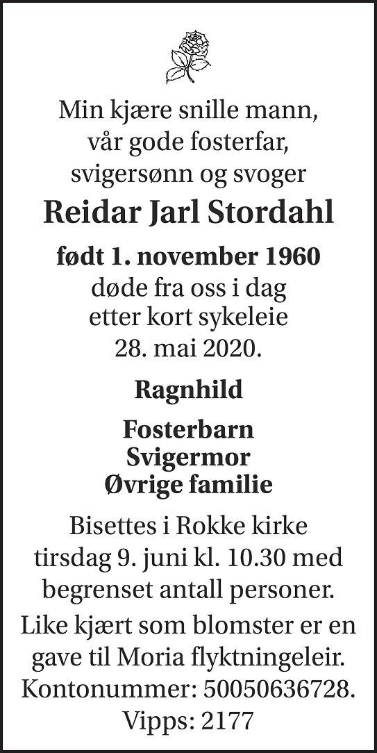 Reidar Jarl Stordahl Dødsannonse