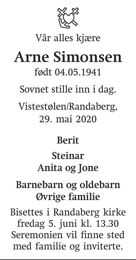 Arne Simonsen Dødsannonse