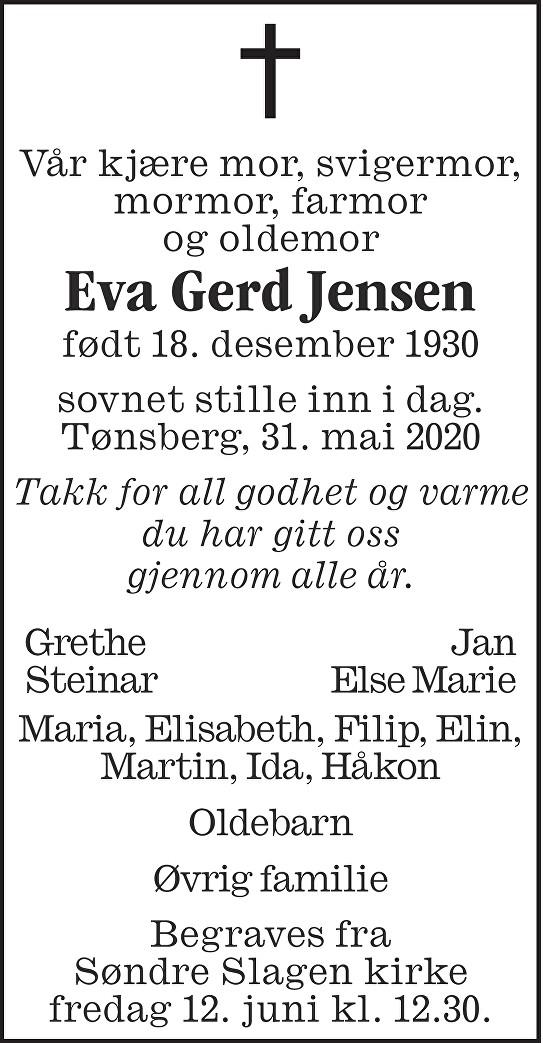 Eva Gerd Jensen Dødsannonse