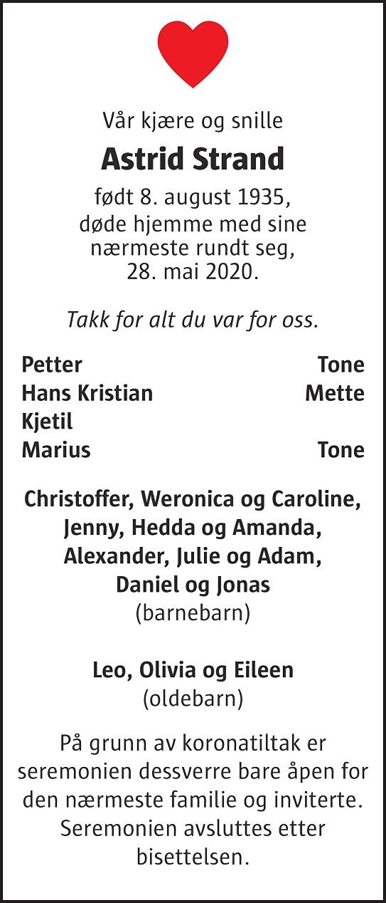 Astrid Strand Dødsannonse