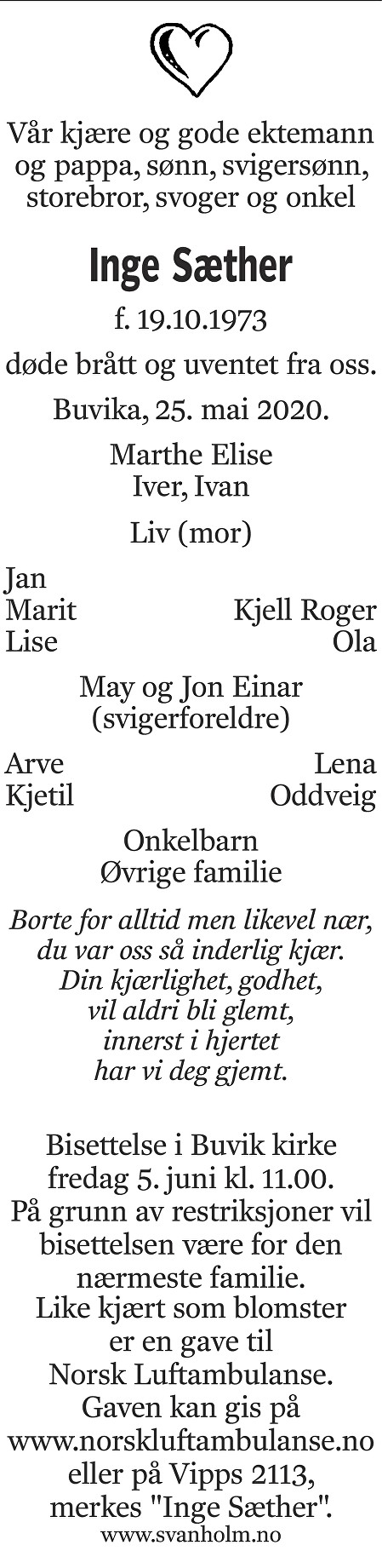 Inge Sæther Dødsannonse