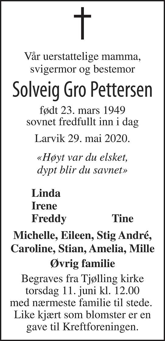 Solveig Gro Pettersen Dødsannonse