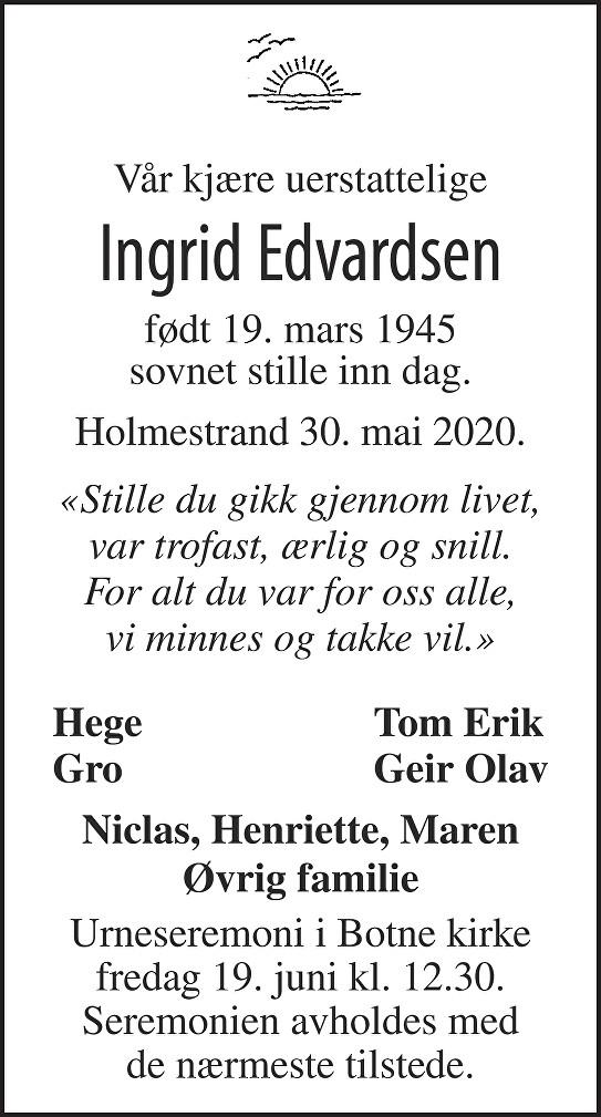 Ingrid Edvardsen Dødsannonse