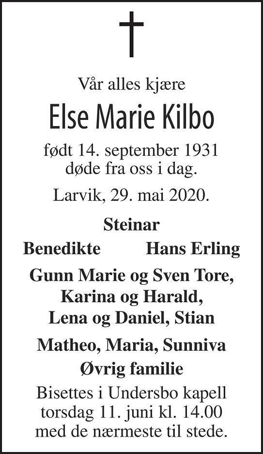 Else Marie Kilbo Dødsannonse