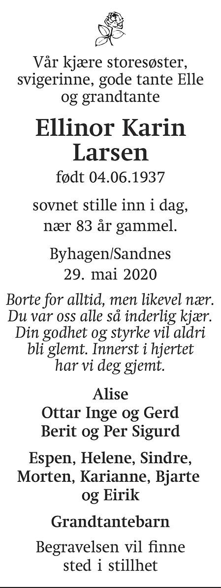 Ellinor Karin Larsen Dødsannonse