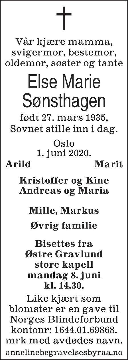 Else Marie Sønsthagen Dødsannonse