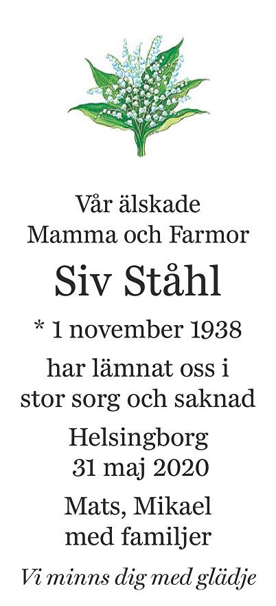 Siv Ståhl Death notice