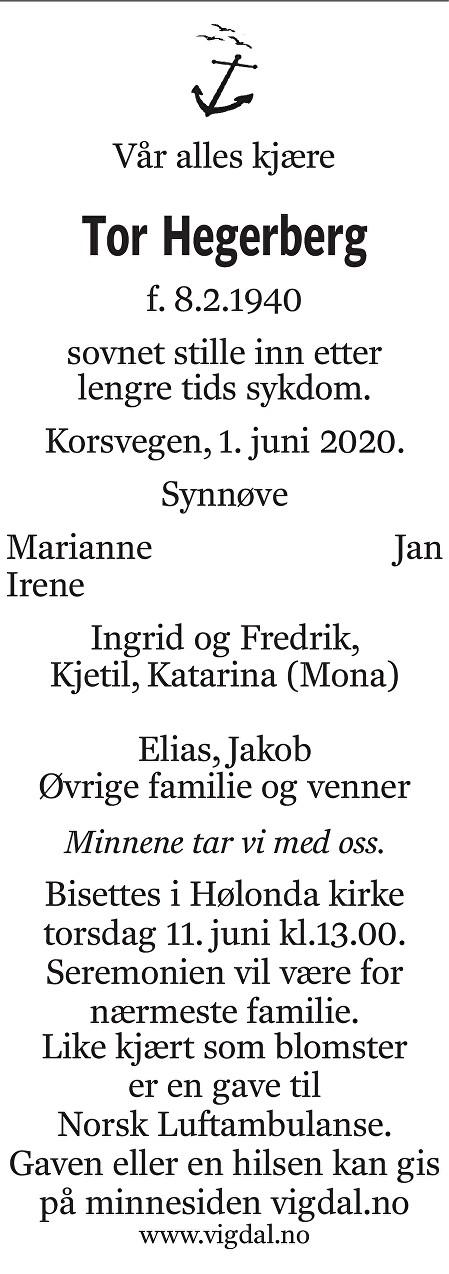 Tor Hegerberg Dødsannonse