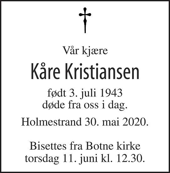 Kåre Kristiansen Dødsannonse