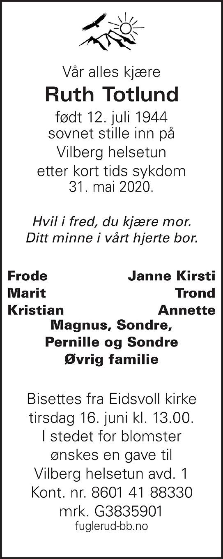 Ruth Totlund Dødsannonse