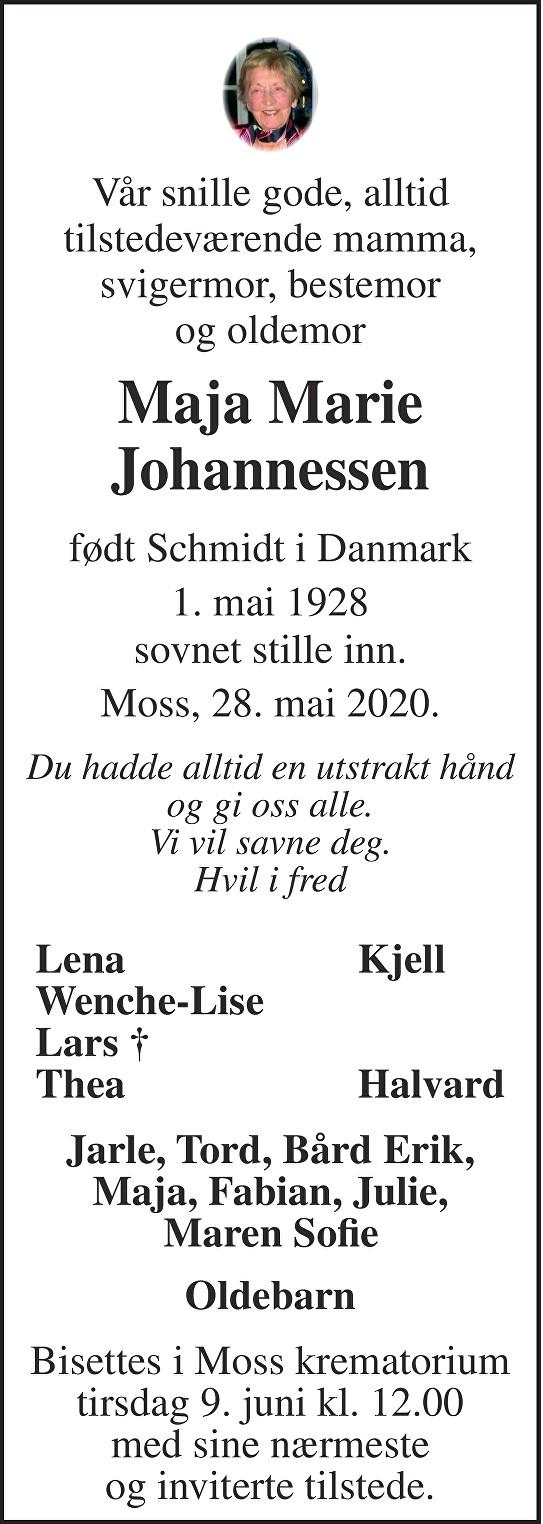 Maja Marie Johannessen Dødsannonse