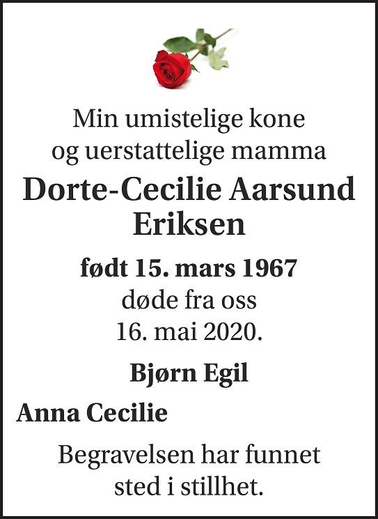 Dorte-Cecilie Aarsund Eriksen Dødsannonse