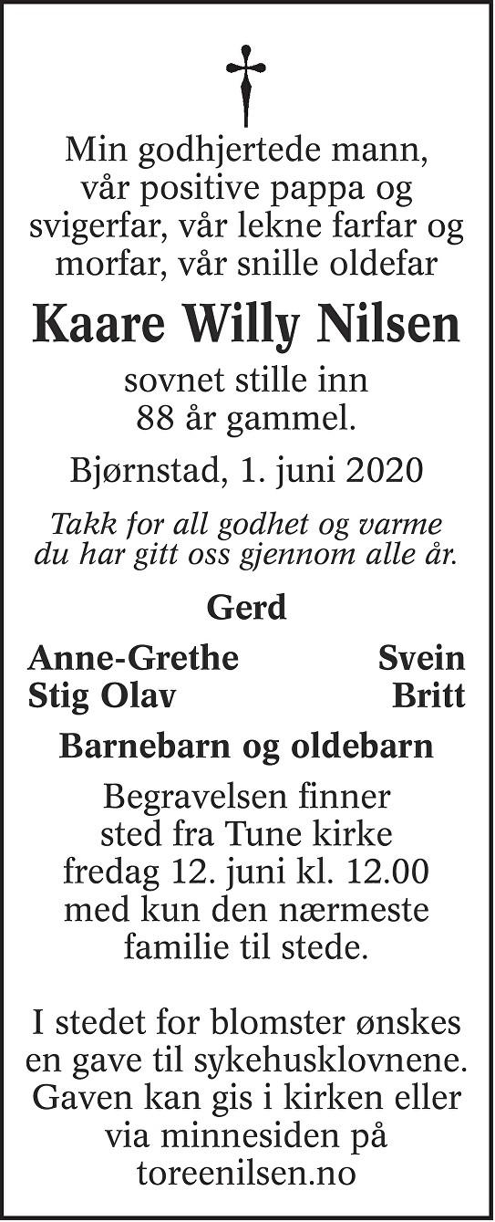 Kaare Willy Nilsen Dødsannonse