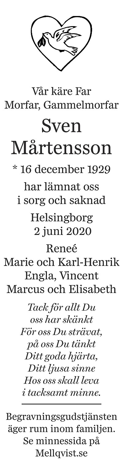 Sven Mårtensson Death notice