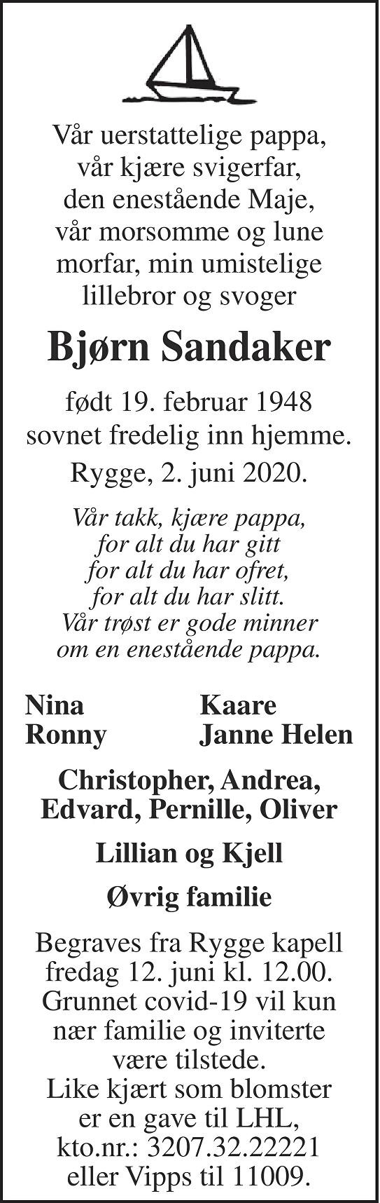 Bjørn Sandaker Dødsannonse
