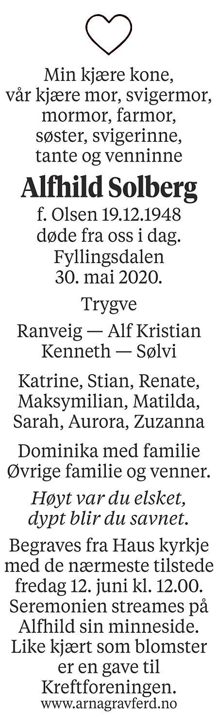 Alfhild Solberg Dødsannonse