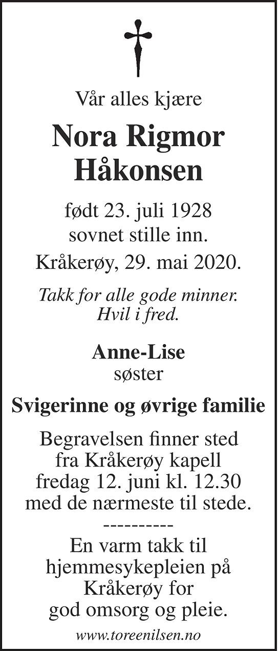 Nora Rigmor Håkonsen Dødsannonse