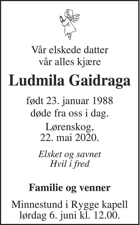 Ludmila Mila Gaidraga Dødsannonse