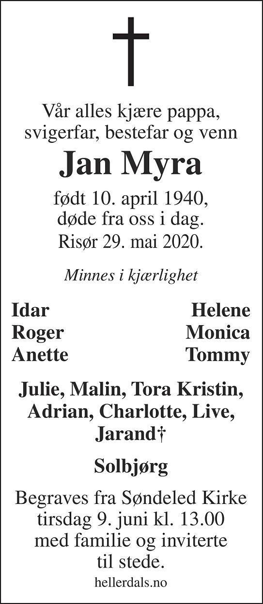 Jan Myra Dødsannonse
