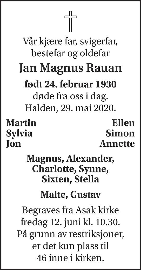 Jan Magnus Rauan Dødsannonse