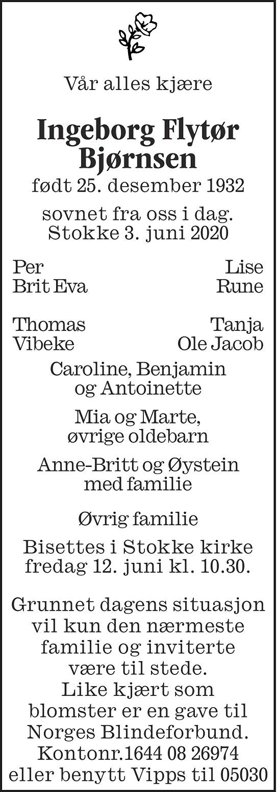 Ingeborg Flytør Bjørnsen Dødsannonse