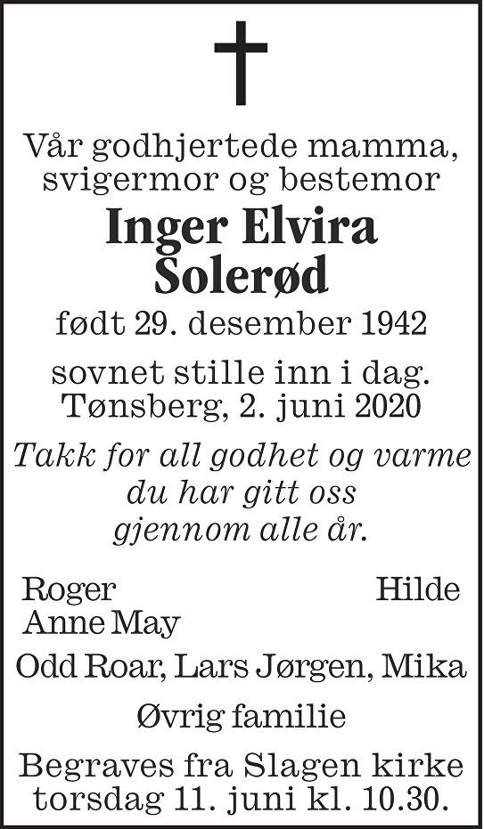 Inger Elvira Solerød Dødsannonse