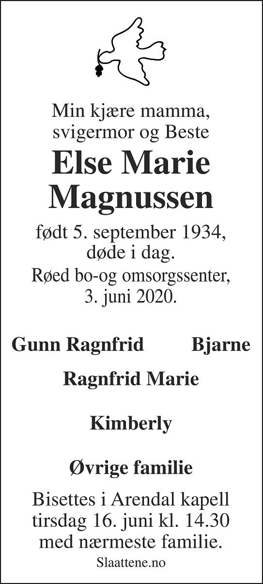 Else Marie Magnussen Dødsannonse